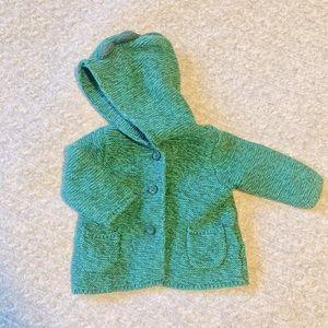 Gap Baby Green Dinosaur Hooded Knit Sweater